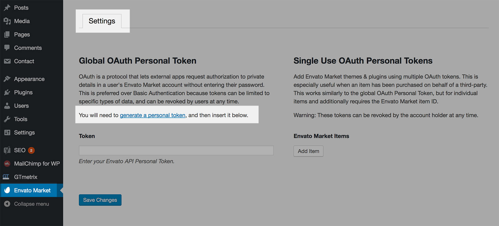 Click on the link to generate a personal token