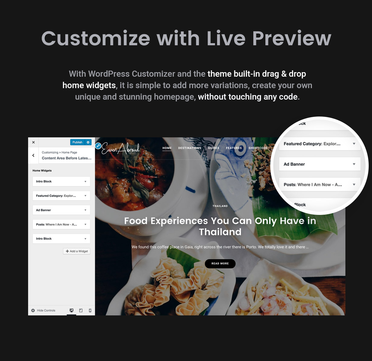 Customizer - Theme Options and Homepage Drag & Drop Builder